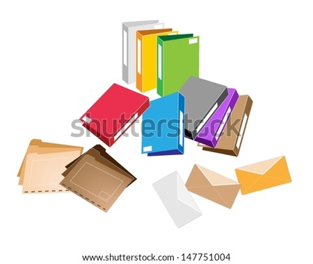 Illustration Collection of Colorsful File Folder, Office Foloder and Close Envelope for Office Supply  - stock vector