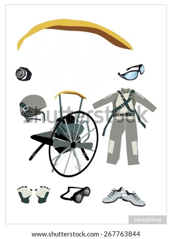 Illustration Collection of Paraglider or Paramotor Equipment and Accessory Isolated on White Background. - stock vector