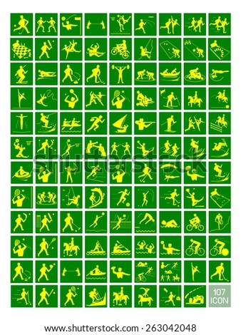 Illustration Collection of 107 Winter and Summer Sport Icons in Yellow and Green Colors.