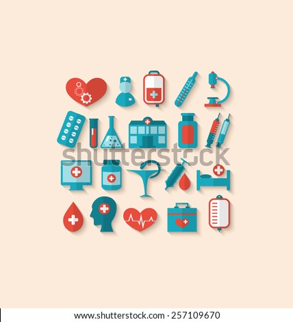 Illustration collection trendy flat icons of medical elements and objects - vector - stock vector