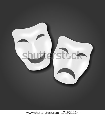 Illustration comedy and tragedy masks for Carnival or theatre - vector - stock vector