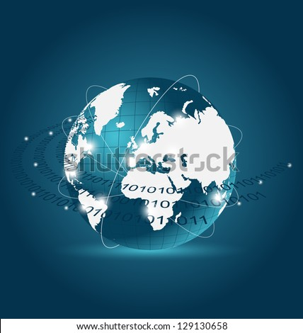 Illustration communication map with Earth planet - vector - stock vector