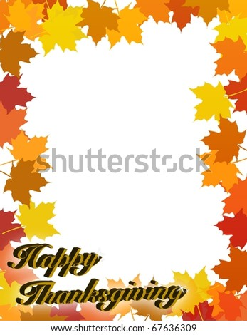 illustration composition for Thanksgiving invitation or greeting card with 3D text,