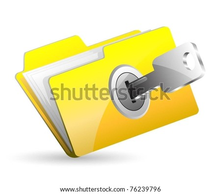 Illustration computer folder with key. Vector.