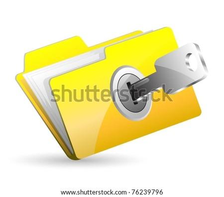 Illustration computer folder with key. Vector. - stock vector