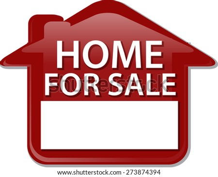 Illustration concept clipart home for sale sign house selling vector - stock vector
