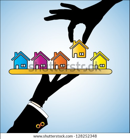 Illustration concept of Buying Home or Buying House - Customer Selecting a bright colored House of his/her choice from a set of different houses offered to him  by the real estate agent - stock vector
