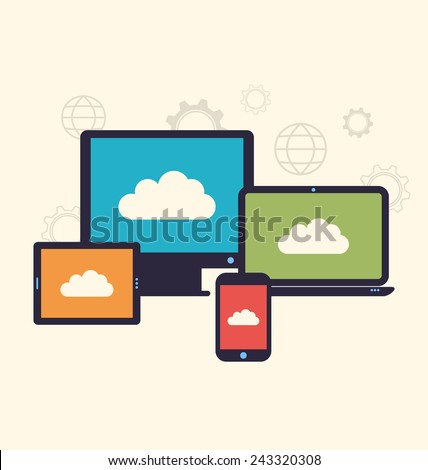Illustration concept of cloud service and mobile devices, trendy flat style - vector - stock vector