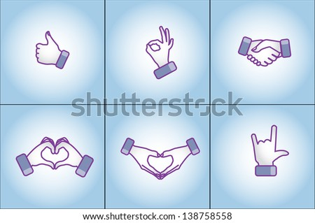 Illustration concept of Different social media style hand gestures - love, like, best, handshake, I love You - stock vector