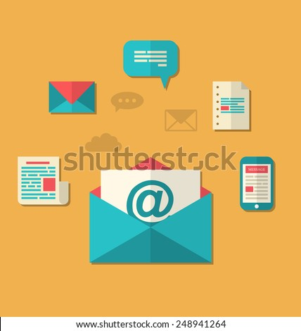 Illustration concept of email marketing - newsletter and subscription, flat trendy icons - vector - stock vector