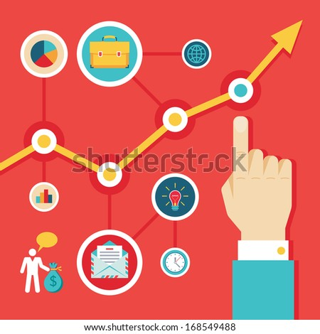 Illustration Concept of Infographic for Presentation in Flat Design Style - stock vector