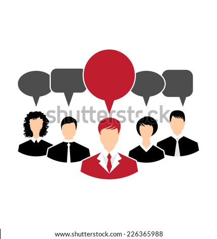 Illustration concept of leadership, dialog speech bubbles - vector - stock vector