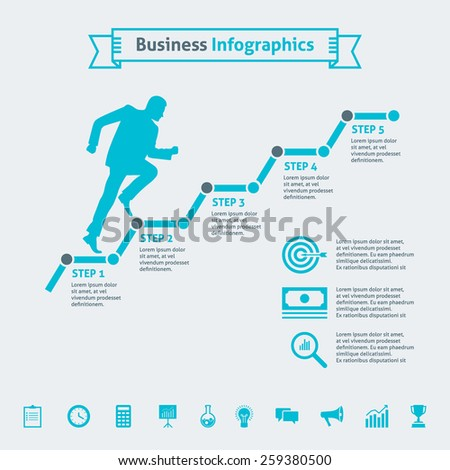 Illustration concept of male silhouette running up along the steps, business timeline infographics with 5 options and icons, vector template for graph, presentation, chart isolated on light background - stock vector