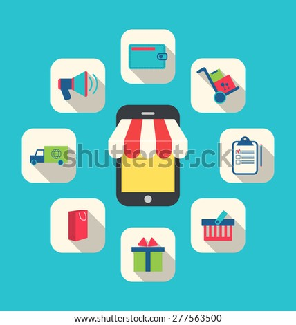 Illustration Concept of Online Shop, E-commerce, Colorful Simple Icons - Vector - stock vector