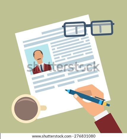 Illustration Concept of Resume Writing, Flat Simple Icons - Vector - stock vector