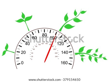 Illustration - concept - on the theme of growth and development with the sprout and the speedometer.