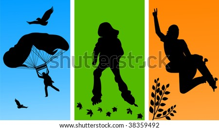 Illustration containing people having active sports - stock vector