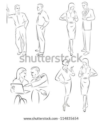 Illustration conversing characters. - stock vector