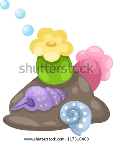 illustration coral and shells vector - stock vector