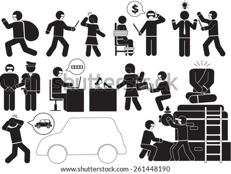 Illustration - Criminals and threats icon set - stock vector