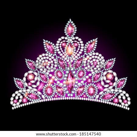 illustration crown tiara women with pink gemstones - stock vector
