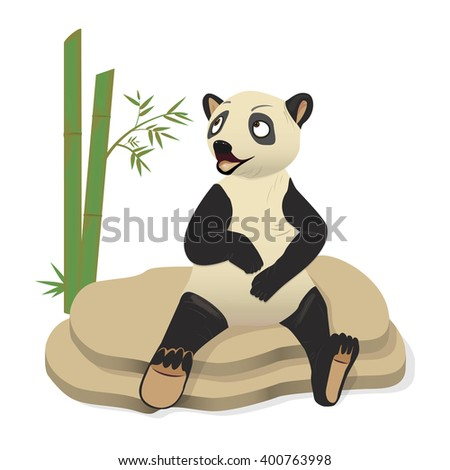 Illustration curious panda on stem of the bamboo. Vector - stock vector