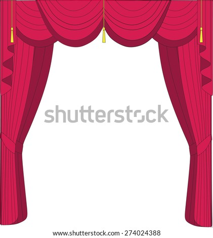 illustration curtains - stock vector