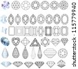 illustration cut precious gem stones set of forms - stock vector