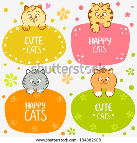illustration cute and funny kittens set frame - stock vector