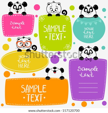 illustration cute animals set frame - stock vector