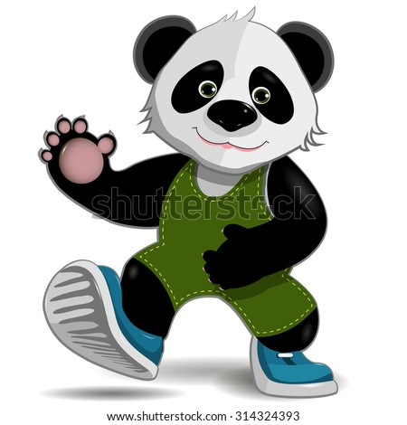 illustration cute fat panda on a white background