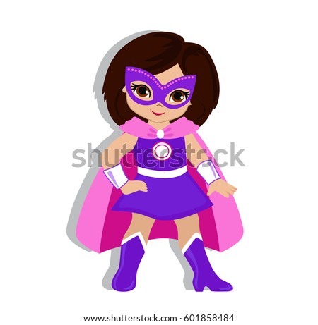 Cute superhero girl boy vector clip 244943548 illustration cute girl in the costume of a superhero vector illustration isolated on white background voltagebd Image collections