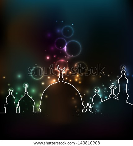 Illustration cute glowing background with mosque - vector - stock vector