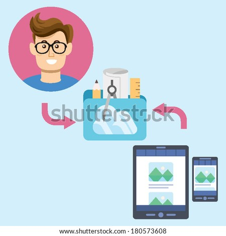 Illustration Data Sharing for Digital Productivity concept of glasses man sharing data for architecture visual interior design with folder in the cloud using tablet and mobile phone - stock vector
