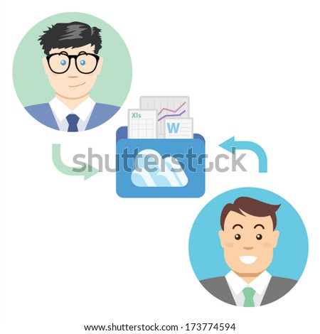 Illustration Data Sharing for Digital Productivity Illustration of business man sharing data for their digital productivity with folder in the cloud of document, analytics file and data - stock vector