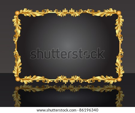 illustration decorative frame with pattern gold sheet - stock vector