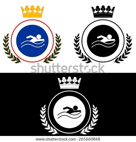 illustration dedicated to the  coat of arms  for swimming . - stock vector