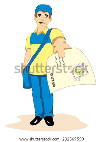 Illustration depicting a man postal worker, postman, mailman, courier or delivery - stock vector
