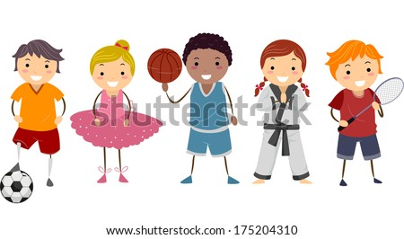 Illustration Depicting Different Activities Commonly Enjoyed by Kids - stock vector