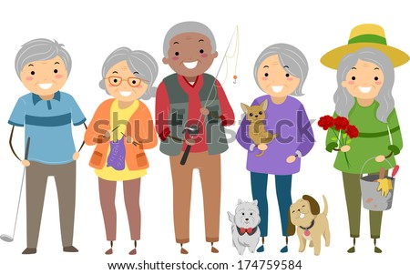 Illustration Depicting Different Activities Commonly Enjoyed by Senior Citizens - stock vector