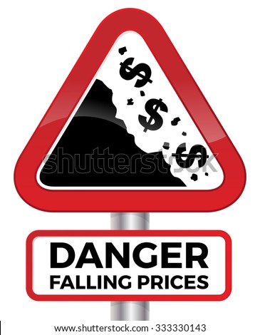 Illustration depicting falling prices represented by tumbling dollar signs crashing down a cliff on a red road sign.