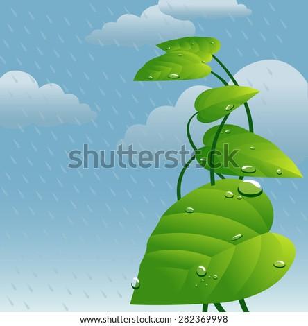 Illustration depicting monsoon-vector - stock vector