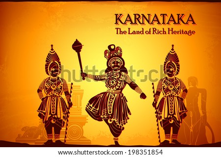 illustration depicting the culture of Karnataka, India - stock vector