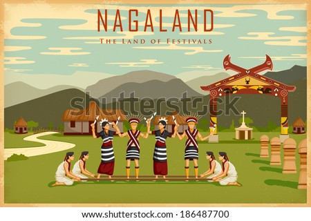 illustration depicting the culture of Nagaland, India - stock vector