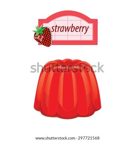 illustration. dessert fruit jelly 1 - stock vector