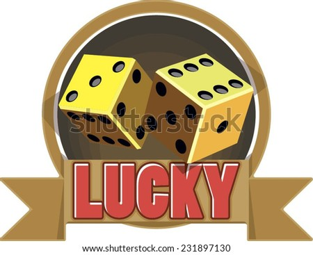 Illustration dice in vintage style and text - stock vector