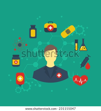 Illustration doctor with medical icons for web design, modern flat style - vector