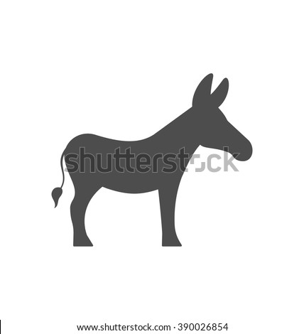 Illustration Donkey Silhouette Isolated on White Background - Vector - stock vector