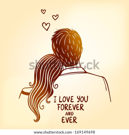 illustration doodle silhouette of loving couple - stock vector