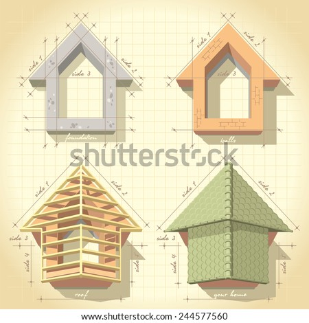 Illustration drawing phased construction of the house - stock vector